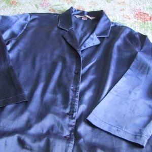 Victoria's Secret Silky Navy Blue Pajama Set, M
